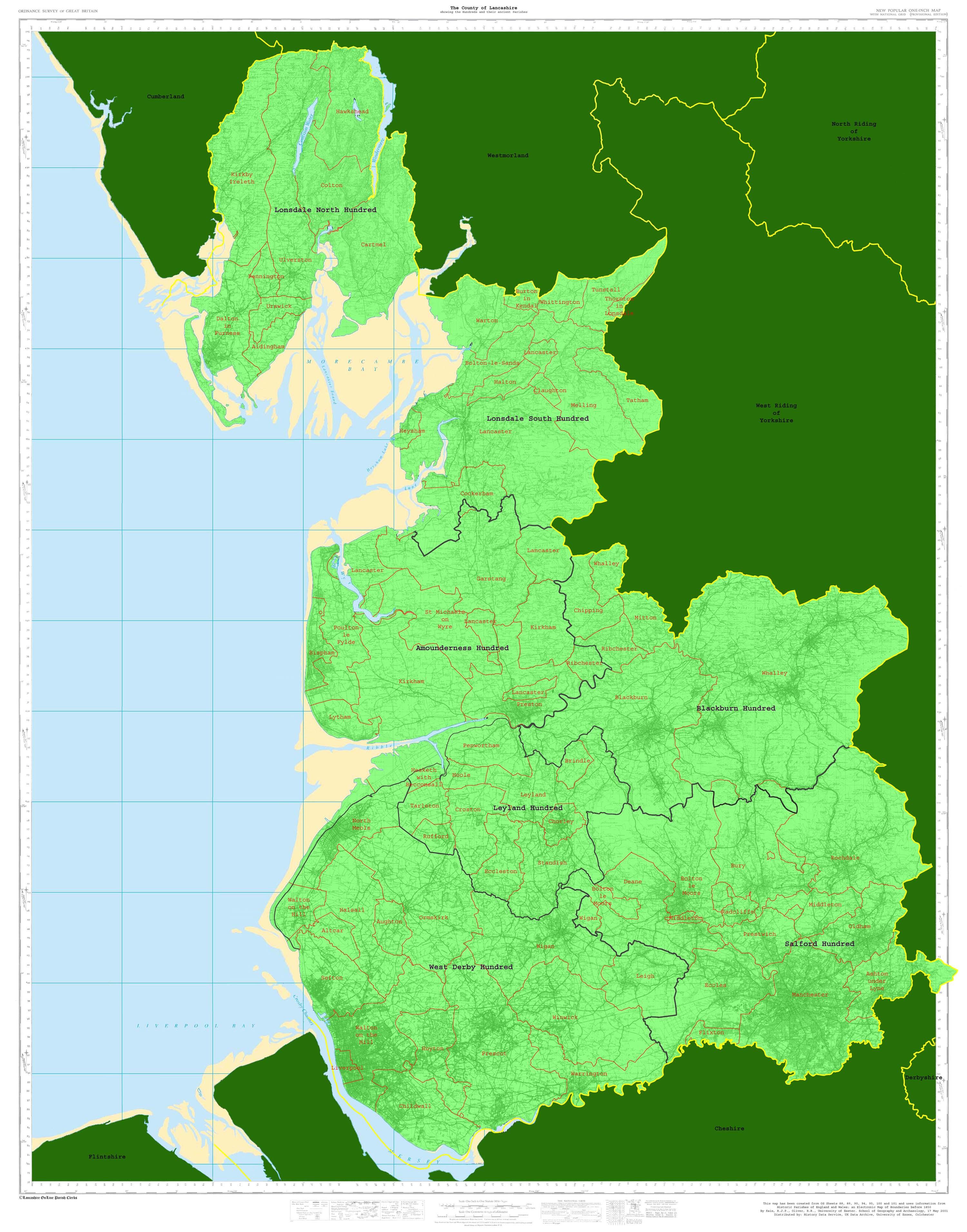 Map Of England Parishes.Lancashire Online Parish Clerks Project